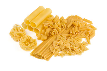Variations of pasta isolated