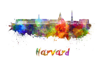 Wall Mural - Harvard skyline in watercolor