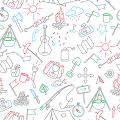 Seamless background with simple hand-drawn icons on the theme of camping and traveling, with colored marker on white background