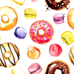 Sweets. Pattern painted with watercolors on white background.