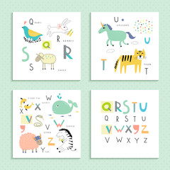 Cute zoo alphabet in vector . Q, R, S, T, U, V, W, X, Y, Z letters