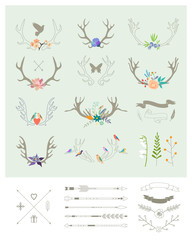 Antlers, flowers, arrows, ribbons. Decor elements. Isolated