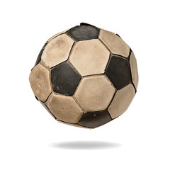 Dirty soccer ball under sunlight isolated on white background