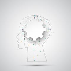 Creative brain concept background with triangular grid. Artifici
