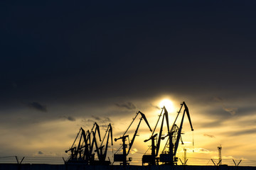 a row of crane at the seaport