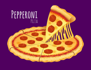A vector illustration of a cooked Pepperoni Pizza