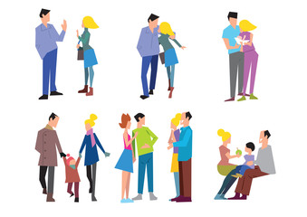 Stages of family formation. The first date, pregnancy, childbirth, grandchildren, old age. Vector illustration in a flat style.