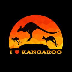 I love Kangaroo low poly abstract vector