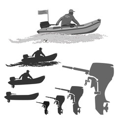 head coach of the club fishermen rides on a rubber boat with a motor.