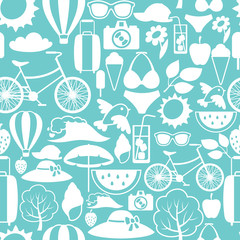 Seamless pattern with stylized summer objects. Background made without clipping mask. Easy to use for backdrop, textile, wrapping paper