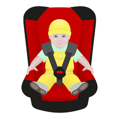baby sitting in car seat on white background