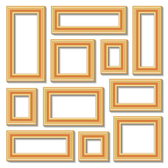 Set collections of golden empty frames