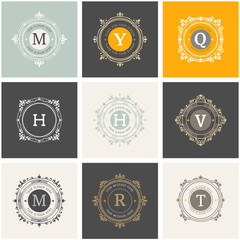 Set Luxury Logos template flourishes calligraphic elegant ornament lines. Design for Business sign, identity & Restaurant, Royalty, Boutique, Hotel, Heraldic, Jewelry, Fashion
