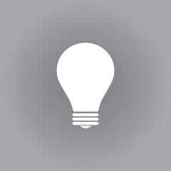 Flat vector icon. White icon on a grey background. Lightbulb.