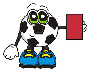 cartoon, isolated, sport, football, ball, illustration, goal, round, symbol, Championship, World Cup, European Championship, character, trauma, rule violation, removal, roughness, red, red card