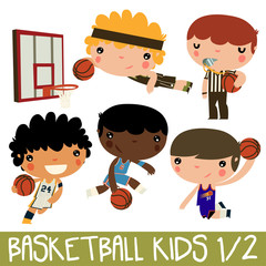 basketball kids. cute vector character set. Real team uniforms. Milwaukee player, Indiana player, New York, Phoenix player.