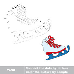 Skates to be traced. Vector letters game.