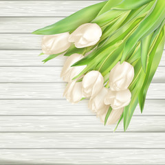 Bouquet of white tulips. EPS 10