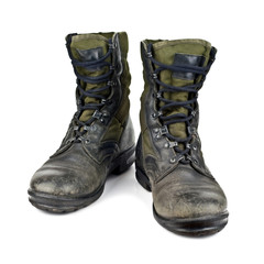 old army boots isolated on white background