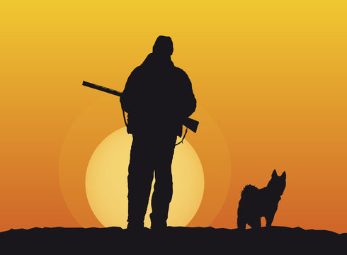 silhouettes of hunter and dog at sunset background