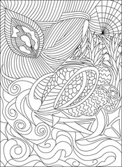 coloring pages for adults picture, love and flower, black and white