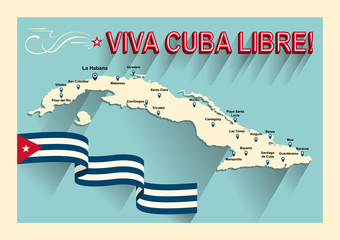 Vintage style Cuba map. Viva Cuba libre! Long live the free Cuba! Spain language.