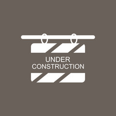 Under Construction Hanging Billboard Icon on Dark Gray Color. Eps-10.
