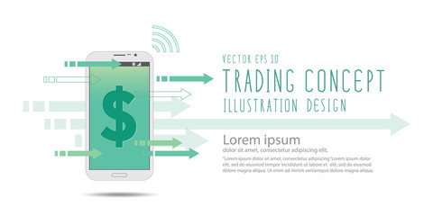 Financial on mobile phone banner vector.
