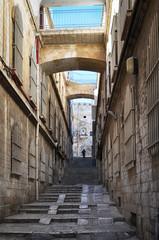 Narrow street in old City of Jerusalem, Israel.