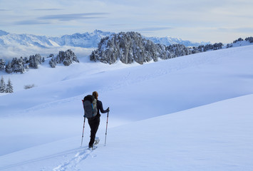 Fotomurales - Female hiker in the snow covered mountains in France during a microadventure.