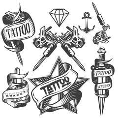 Vector set of tattoo vector labels in vintage style. Tattoo salon logos and machine isolated on white background.