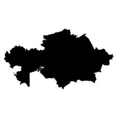 Kazakhstan black map on white background vector