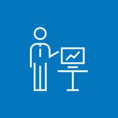 Business presentation line icon.