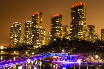City of the Future Songdo South Korea in night