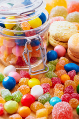 Colorful candies in jar