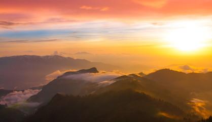 Printed roller blinds Sunset Mountain sunset autumn. Sunny rays