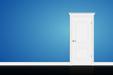 Closed white door on blue wall. Vector