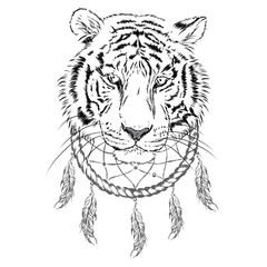 Tiger and Dreamcatcher. Vector illustration.