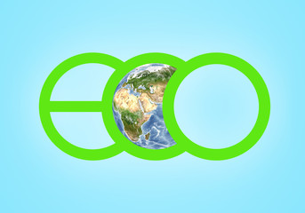 Large green letters spelling ECO closeup and globe illustration in the centre of picture. Elements this image are furnished by NASA
