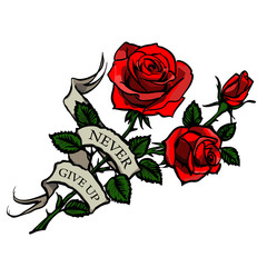 vector tattoo red roses