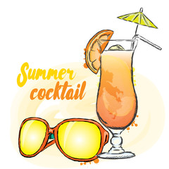 Summer drink and sunglasses. Vector illustration. Vacation.