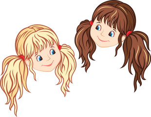 Little Girl Faces, blonde and brunette