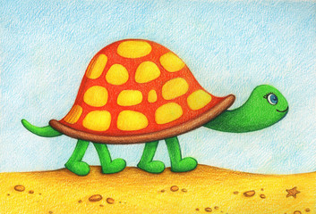 Child's picture of of turtle,  going for a walk  on a beach by the color pencils.