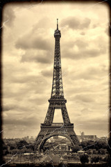 Panorama Eiffel Tower in Paris. Vintage view. Tour Eiffel old retro style.