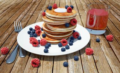 render of pancakes with raspberries, blueberries and juice