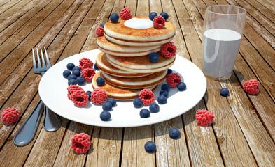 render of pancakes with raspberries, blueberries and milk