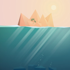 Tropical island landscape vector background with underwater space. Sunset scene of travel paradise.