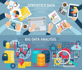 Big Data Flat Horizontal Banners Set
