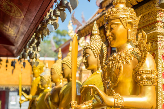 Detail from Wat Phra That Doi Suthep in Chiang Mai. This Buddhist temple founded in 1383 is the most famous in Chiang Mai.