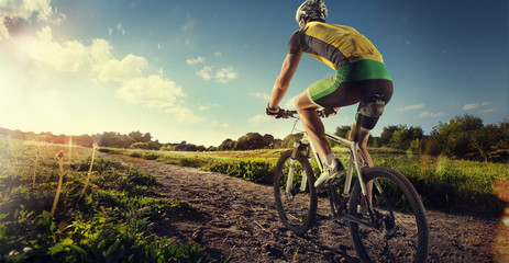 Sport. Mountain Bike cyclist riding single track Fototapete